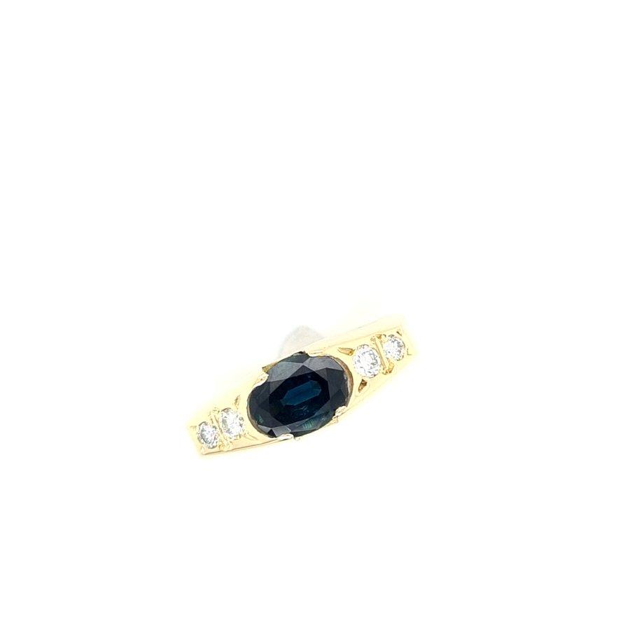 Occasion 14 karaat geel gouden ring brilajnt/ natuurlijke blauwe saffier