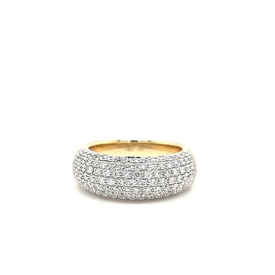 18 krt. bicolour ring with diamonds