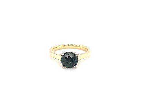 14 krt. bicolour ring met tourmalijn