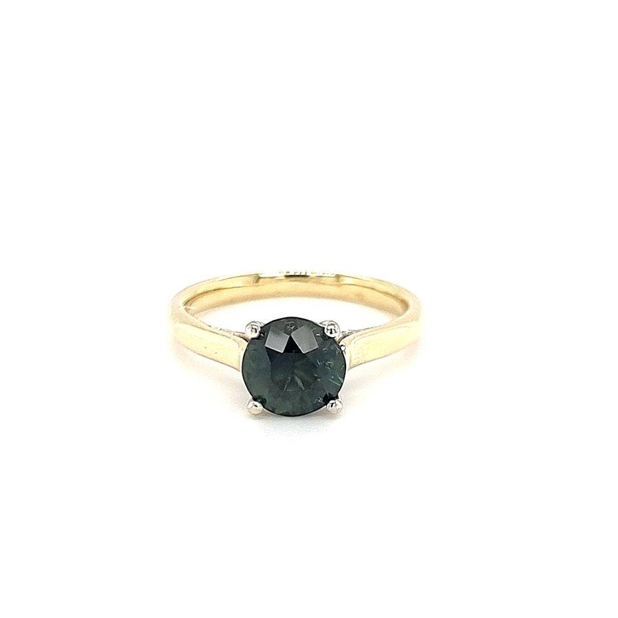14 krt. bicolour ring with tourmaline