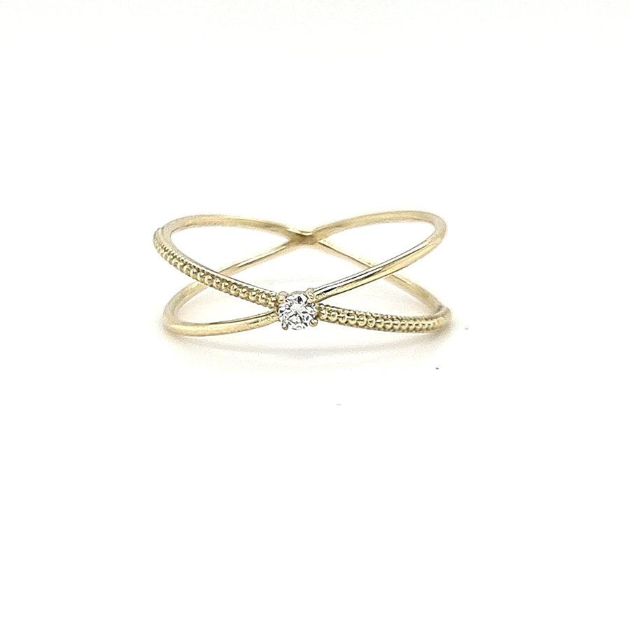 14 krt. geelgouden ring met briljanten