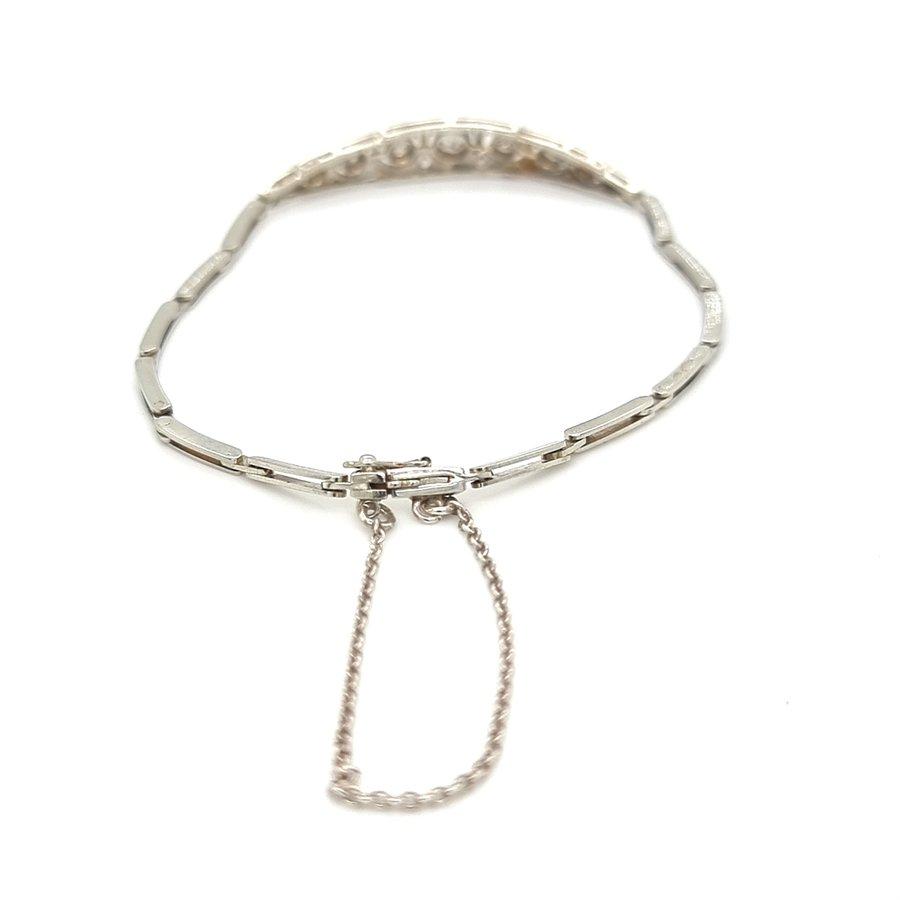 Occasion 14 krt. witgouden art deco armband met diamant