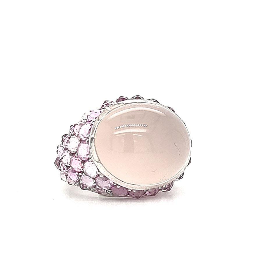 Occasion 18 krt. witgouden ring met rose quartz