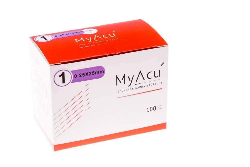 MyAcu Aiguilles avec manche en acier inoxydable Guidetube 0,25x25 mm (5)