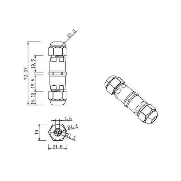 Waterdichte kabelverbinder 2- en 3-polig - voor 0.5 - 1mm² - IP68 - geschikt voor 2- en 3-aderige kabel