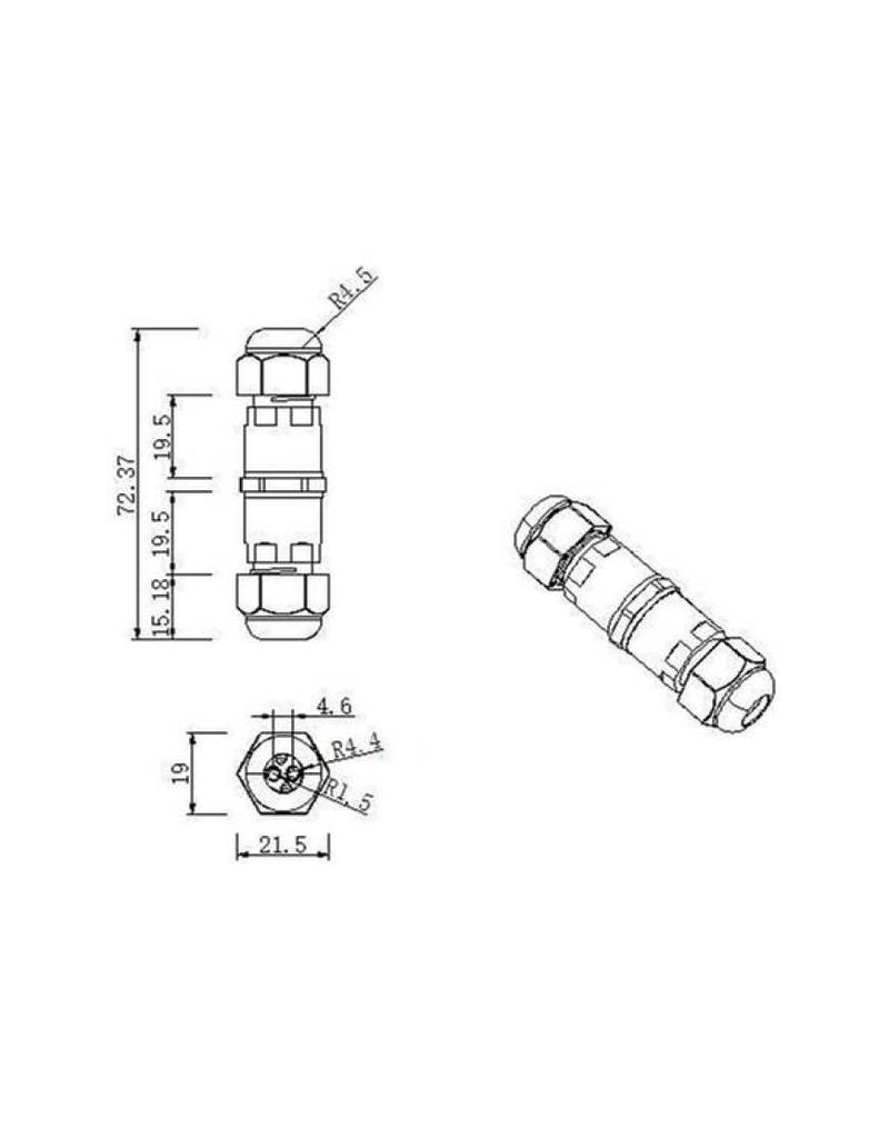 Waterdichte kabel verbinder 0.5 - 1mm² IP68