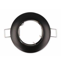 Inbouwspot zwart rond - niet kantelbaar - buitenmaat 77mm zaagmaat 65mm