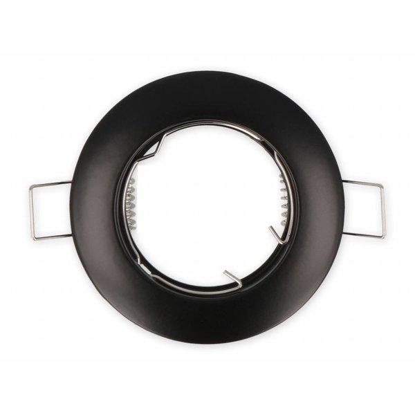 Inbouwspot zwart rond - niet kantelbaar - zaagmaat 65mm buitenmaat 77mm