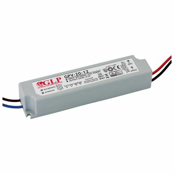 LED voedingsadapter - 12V 24W 2A - geschikt voor 12V LED-verlichting - IP67 waterdicht