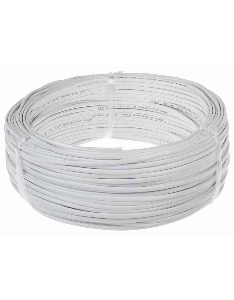 Aansluitsnoer - 100m - 2x0,75 mm2 met witte mantel - rond