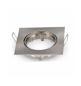 Inbouwspot geborsteld nikkel vierkant - kantelbaar - zaagmaat 74mm - buitenmaat 82mm