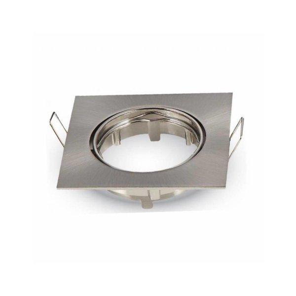Inbouwspot vierkant - geborsteld staal - kantelbaar - zaagmaat 74mm - buitenmaat 82mm