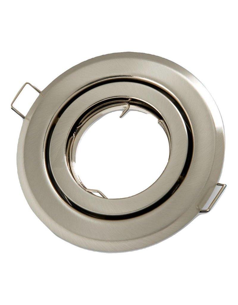 Inbouwspot satijn nikkel rond - kantelbaar - zaagmaat 74mm - buitenmaat 100mm