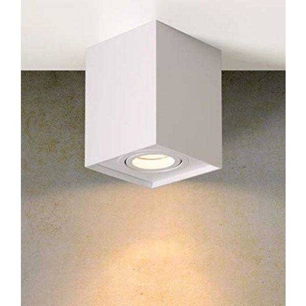 LED plafondspot - Cube vierkant -  Wit -  met GU10 fitting - kantelbaar - excl. LED spot