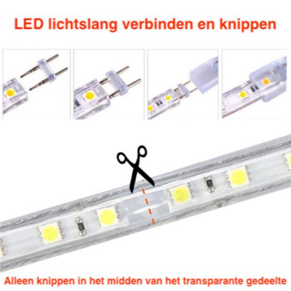 LED lichtslang plat RGB 50 meter incl. aansluitsnoer met 1 knops bediening