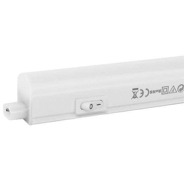 T5 LED armatuur 30cm - 4W vervangt 40W - 4000K helder wit licht (840) - compleet met 1.5m aansluitsnoer en aan- uitknop