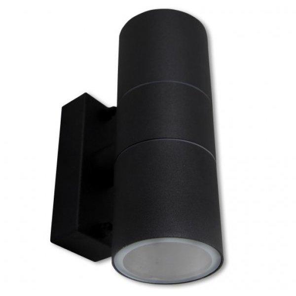 OP=OP LED wandlamp rond dubbel - GU10 fitting - IP44 - Geschikt voor 2 GU10 spots - Antraciet