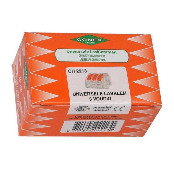 Conex 40 stuks Conex Lasklem kabelverbinders - 3 polig 0,5 tot 4mm²