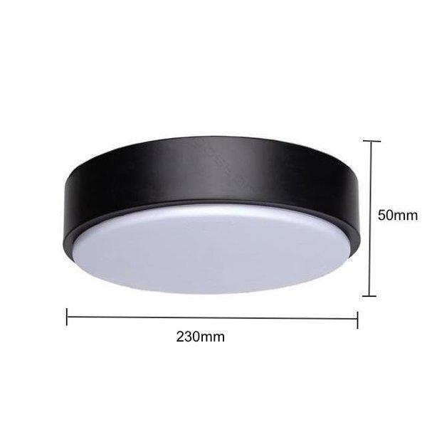 LED Zwarte plafondlamp rond- 12W vervangt 60W - 4000k helder wit licht - 230x50mm