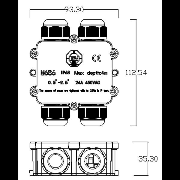 Waterdichte Lasdoos IP68 - 4 ingangen incl. kabelverbinders en verschillende maten afdicht rubbers