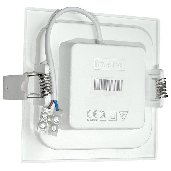 LED inbouwspot vierkant - 6W vervangt 40W - inbouwmaat 100x100mm - 4000K helder wit licht