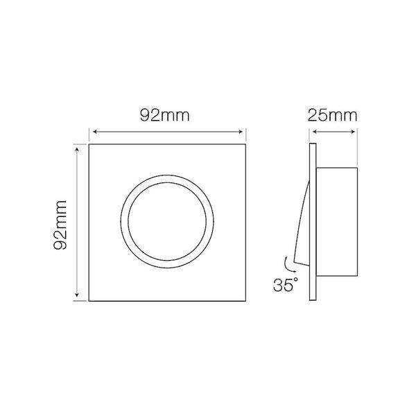 Inbouwspot zwart vierkant  - kantelbaar - zaagmaat 74mm - buitenmaat 92mm