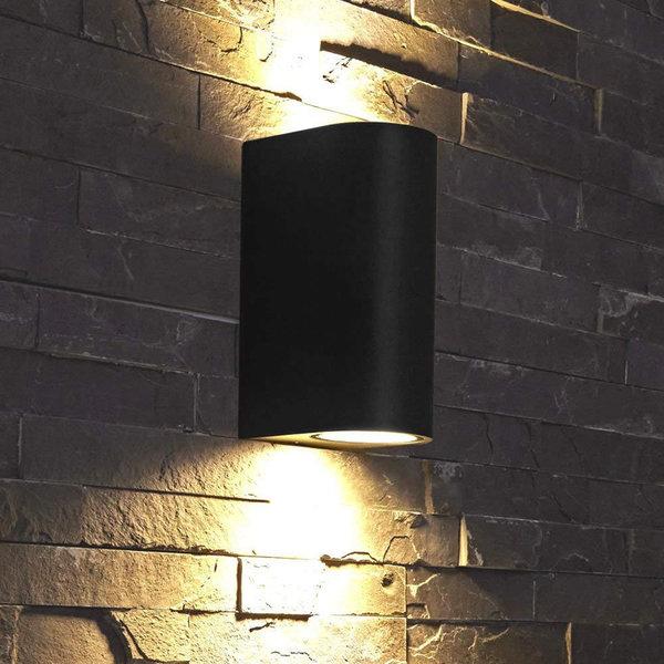 Spectrum LED Wandlamp halfrond Zwart - GU10 fitting - IP54 - Geschikt voor 2 GU10 spots