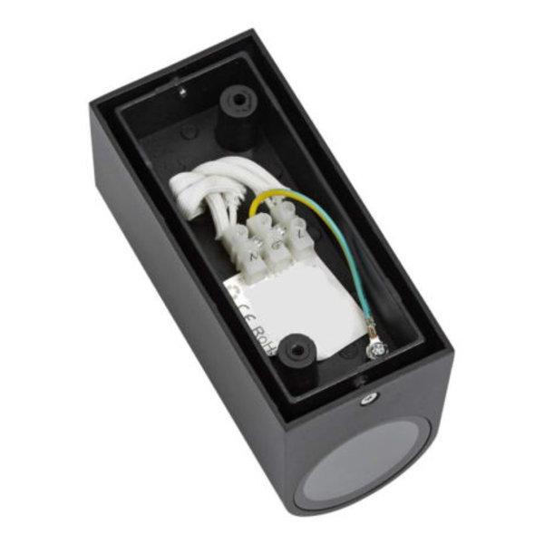 LED Wandlamp halfrond Zwart - GU10 fitting - IP54 - Geschikt voor 2 GU10 spots