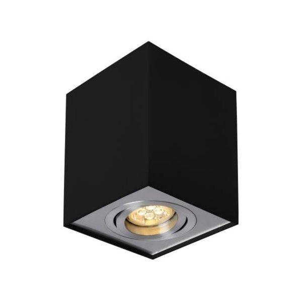 LED plafondspot - Cube vierkant -  Zwart Zilver -  met GU10 fitting - kantelbaar - excl. LED spot