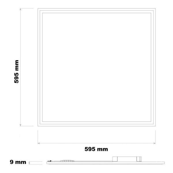 LED paneel 60x60cm - Zilveren rand - 40W 3600lm - 6000K - Incl. flikkervrije driver - 5 jaar garantie