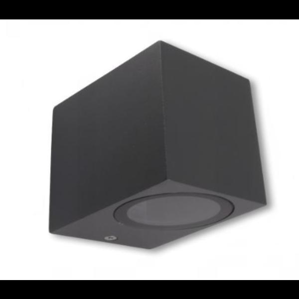 LED wandlamp vierkant Antraciet - GU10 fitting - IP44 - Geschikt voor 1 GU10 spot