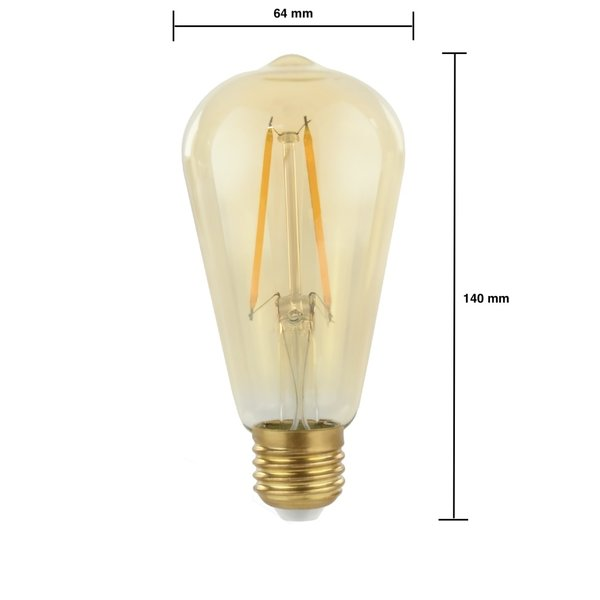 LED filament lamp - niet dimbaar - E27 ST64 - 2W vervangt 25W - 2500K extra warm wit licht