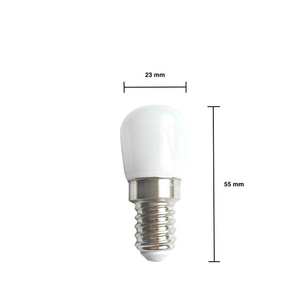 LED koelkast lamp - E14 fitting - 2W vervangt 16W - Daglicht wit 6000K - 23*55mm
