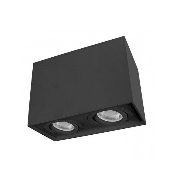 LED plafondspot dubbel kantelbaar - Cube Zwart - GU10 fitting