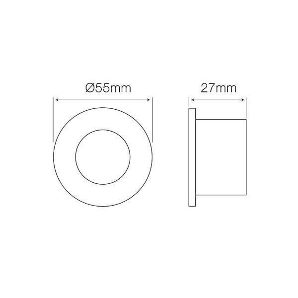 GU11 / MR11 - Ø35mm Inbouwspot wit rond - Waterdicht IP44 - zaagmaat 40mm - buitenmaat 55mm - Copy