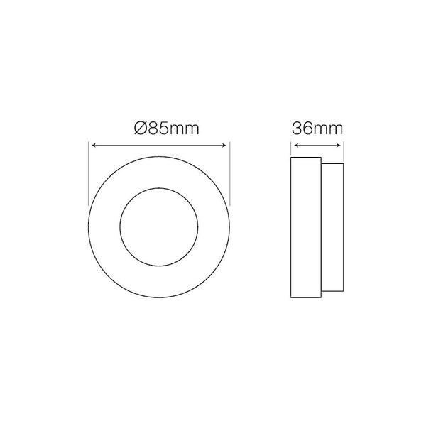 Inbouwspot wit rond - Badkamer IP44 - zaagmaat 60mm - buitenmaat 85mm