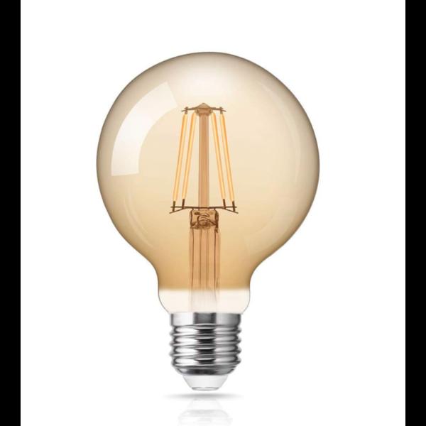 LED filament lamp - XL GLOBE - dimbaar - E27 fitting - 6W vervangt 60W - 2200K extra warm wit licht