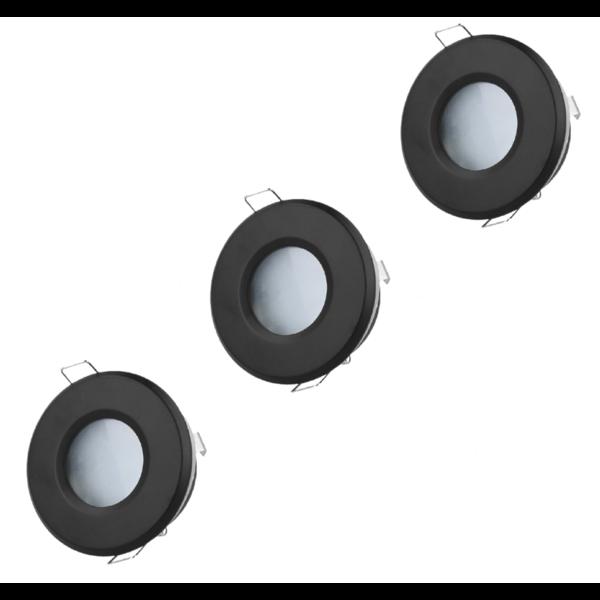 LED inbouwspot set 3 stuks dimbaar - Badkamer IP44 - Zwart Rond 5,5W 4000K helder wit licht - inbouwmaat 74mm