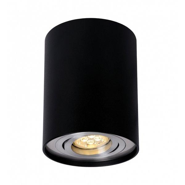LED plafondspot - Tube rond - Zwart Aluminium - met GU10 fitting - kantelbaar - excl. LED spot