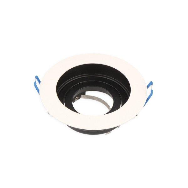 Inbouwspot wit met zwarte binnenkant - kantelbaar - zaagmaat 90mm - buitenmaat 100mm