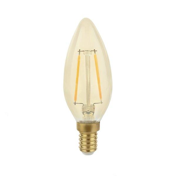 Voordeelpak 10 stuks - LED filament lamp - E14 fitting C35 - 2W vervangt 25W - 2500K extra warm wit licht