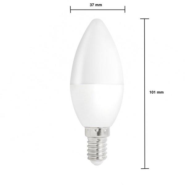 Voordeelpak 10 stuks - E14 LED kaarslampen - Type C37 - 6W vervangt 50W - 3000K warm wit licht