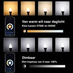 Voordeelpak 10 stuks - E14 WiFi LED kaarsLamp - 5W vervangt 41W - 2700K 6500K - Bediening met de App