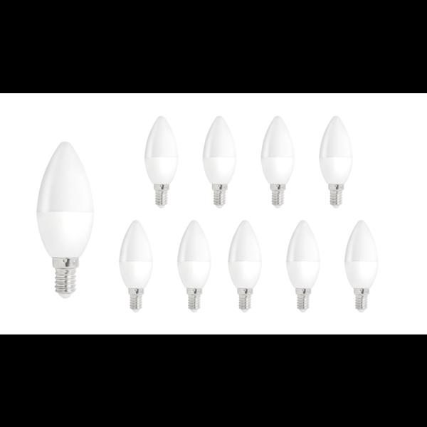 Voordeelpak 10 stuks - E14 LED kaarslamp - 1W vervangt 10W - 3000K Warm wit licht