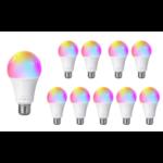 Voordeelpak 10 stuks - E27 WiFi LED Lamp - 9W vervangt 85W - RGB+CCT alle lichtkleuren - Bediening met de App