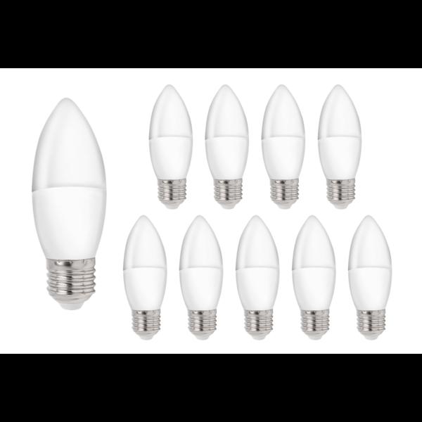Voordeelpak 10 stuks - E27 LED kaarslampen - Type C37 3W vervangt 25W - 3000K warm wit licht