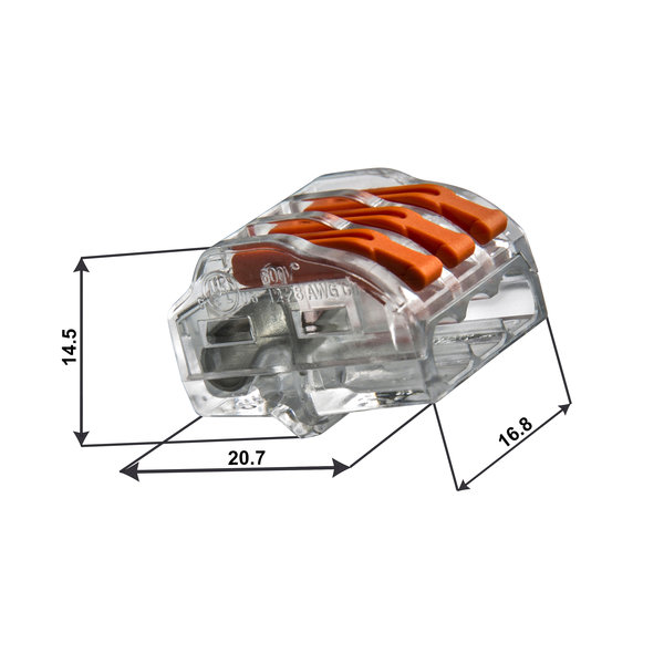 Conex lasklem 3-polig 0,5 tot 4mm² - voor flexibele en massieve draden - Prijs per stuk