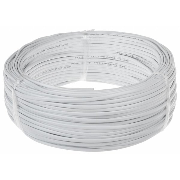 Aansluitsnoer - 100m - 2x 1mm2 met witte mantel - plat