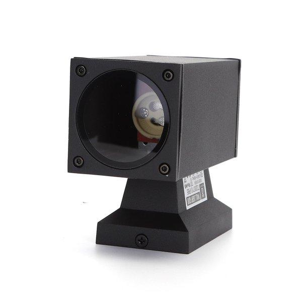 Wandlamp single spot - Rechthoek Zwart - IP65 Buitengebruik - GU10 aansluiting