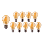 Voordeelpak 10 stuks LED Filament lamp dimbaar - E27 A60 - 5W vervangt 50W - 2200K extra warm wit licht - 2 jaar garantie